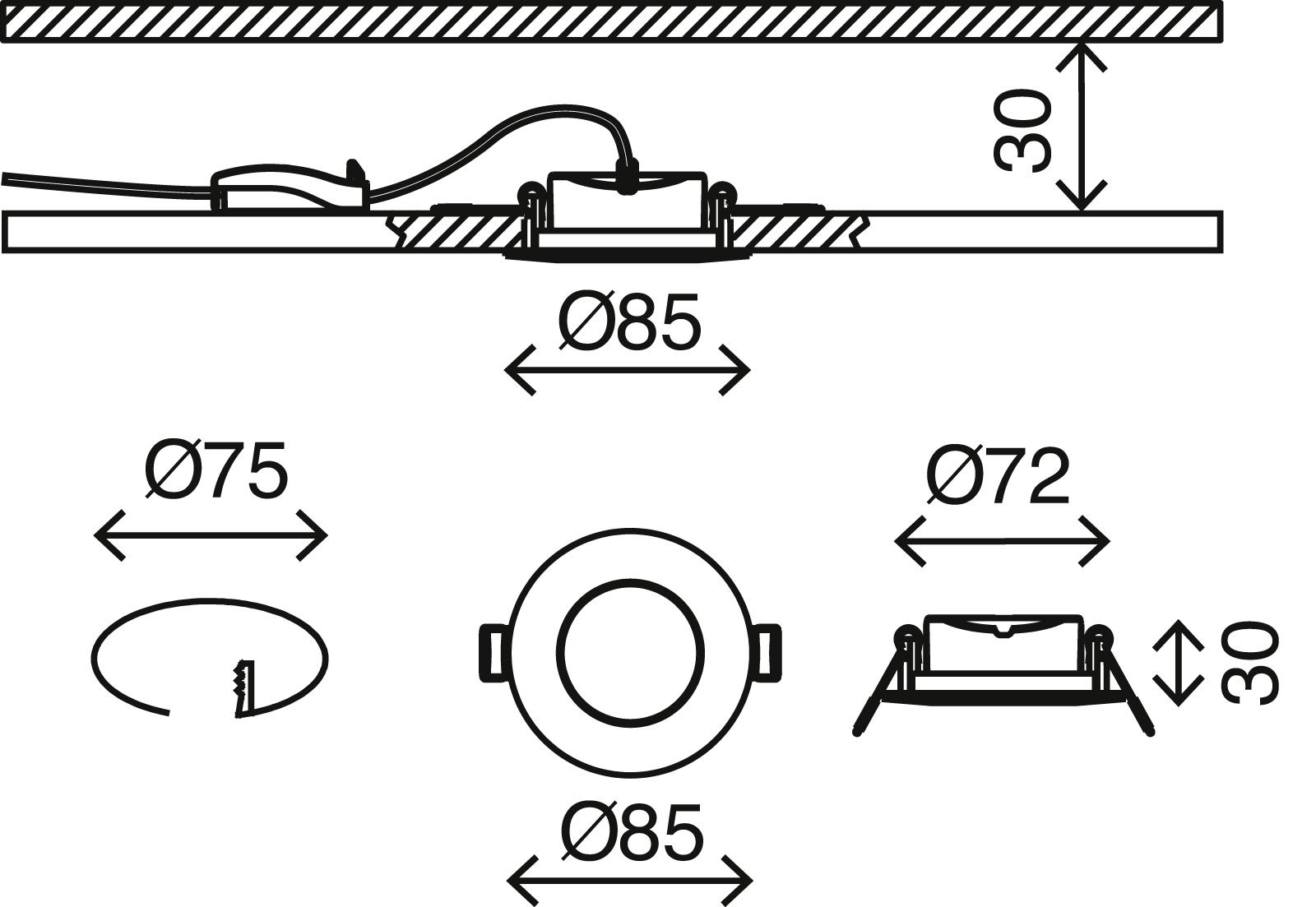 LED Einbauleuchte, Ø 8,5 cm, 6 W, Matt-Nickel