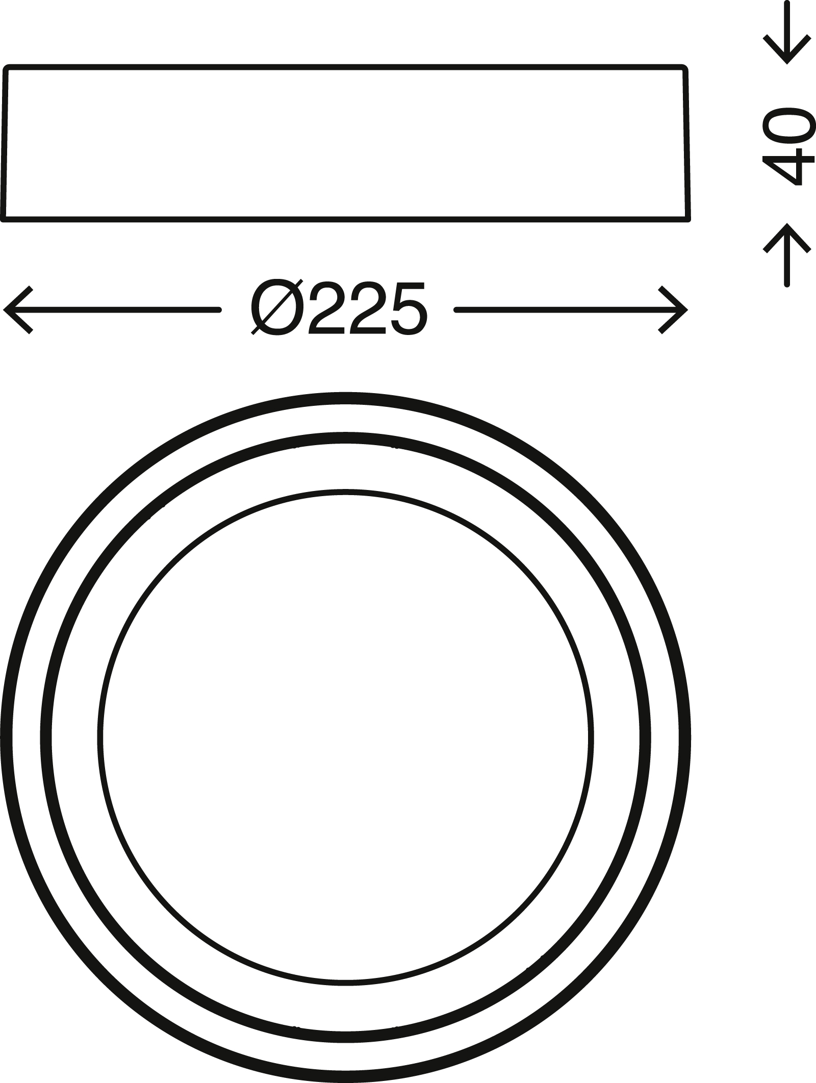 LED Deckenleuchte, Ø 22,5 cm, 16,5 W, Chrom-Matt