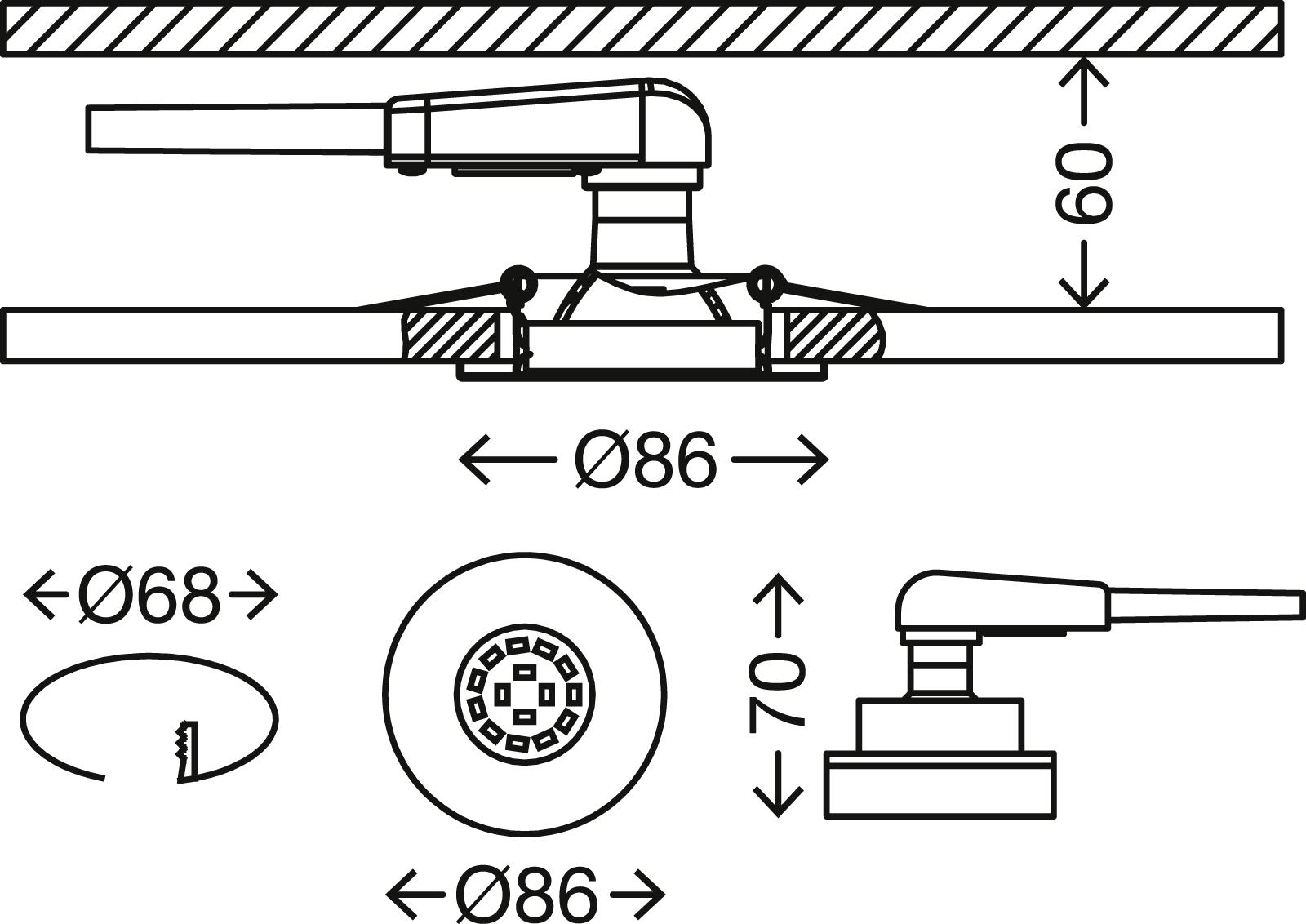 3er-Set Spot Einbauleuchte, Ø 8,6 cm, 5,5 W, Alu