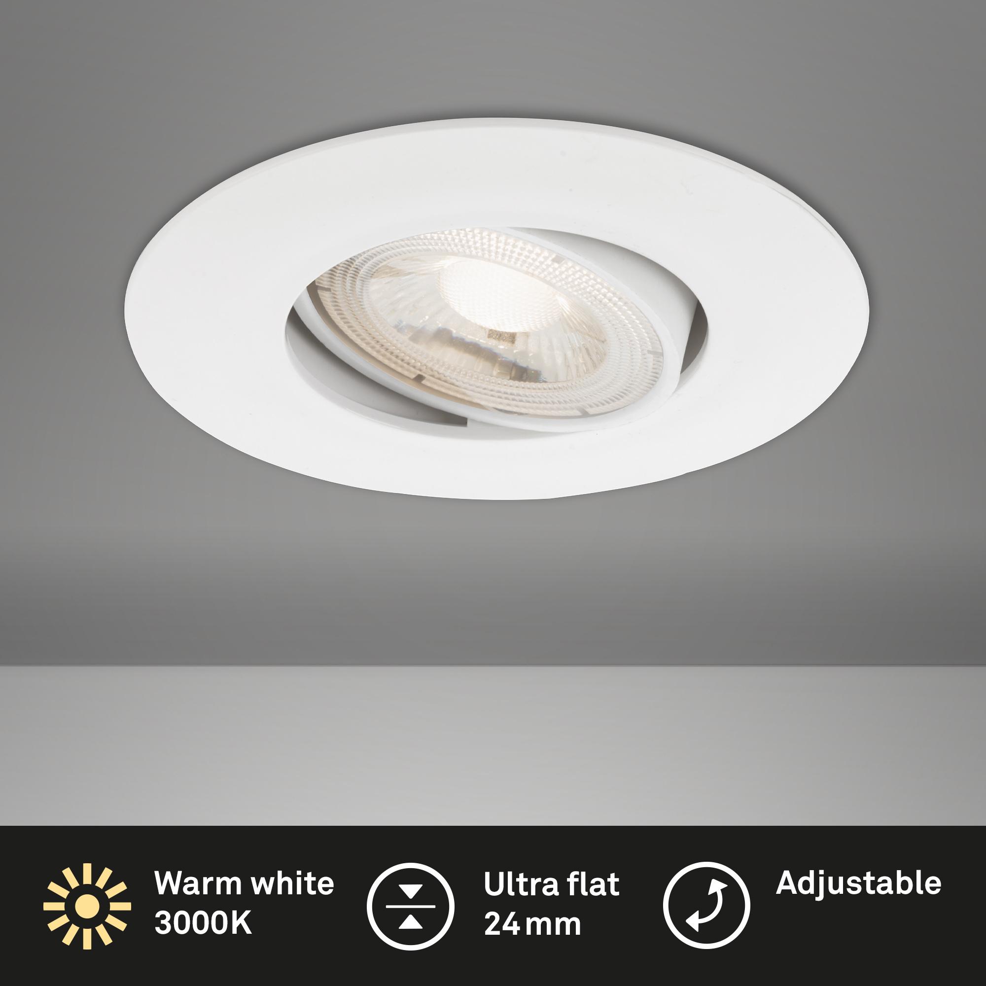 Ultraflache LED Einbauleuchte, Ø 9 cm, 5 W, Weiß