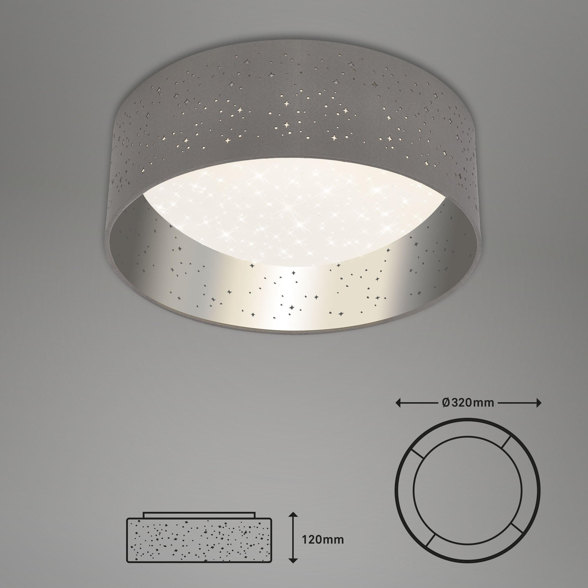 STERNENHIMMEL LED Deckenleuchte, Ø 32 cm, 12 W, Grau-Silber