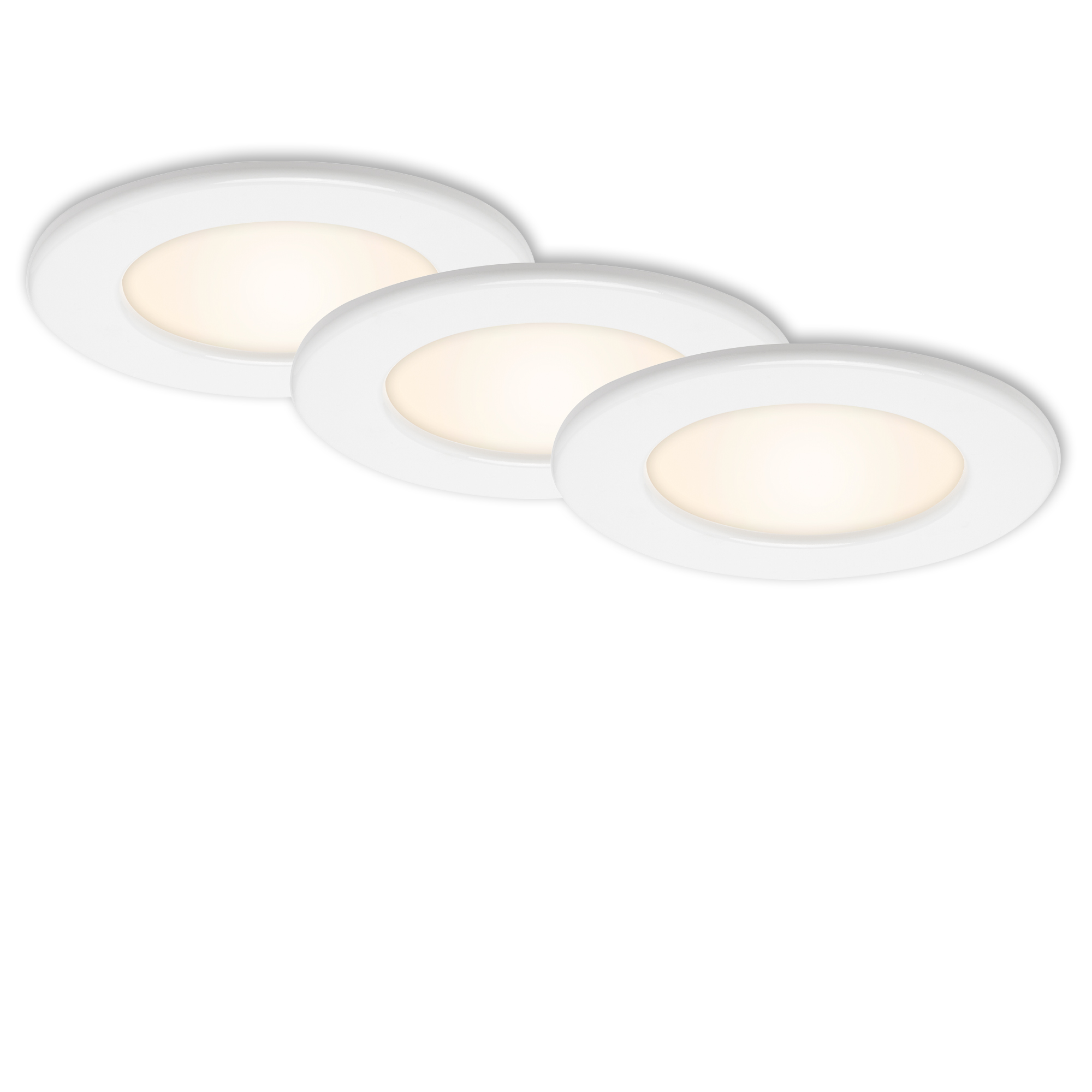 3er Set LED Einbauleuchte, Ø 11,5 cm, 6 W, Weiß