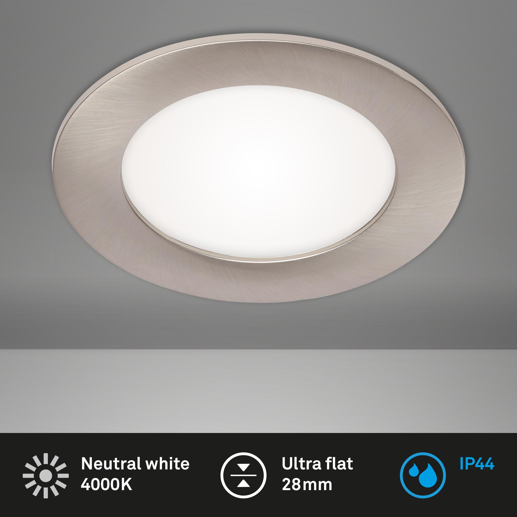 LED Einbauleuchte, Ø 12 cm, 7 W, Matt-Nickel
