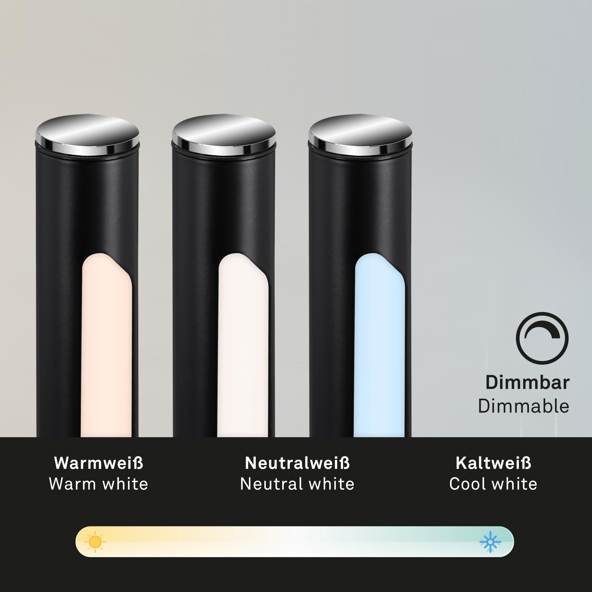 USB LED Wand- und Stehleuchte, 130,5 cm, 2,3 W, Schwarz