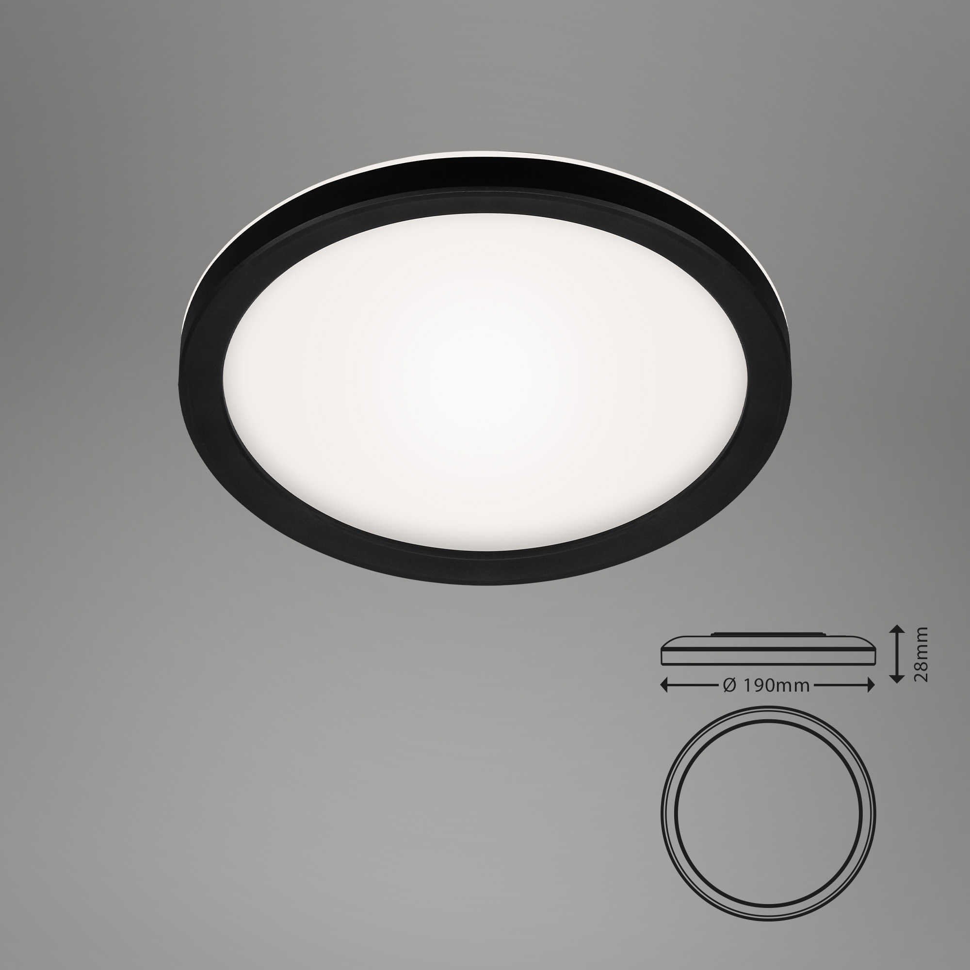 SLIM LED Panel, Ø 19 cm, 12 W, Schwarz