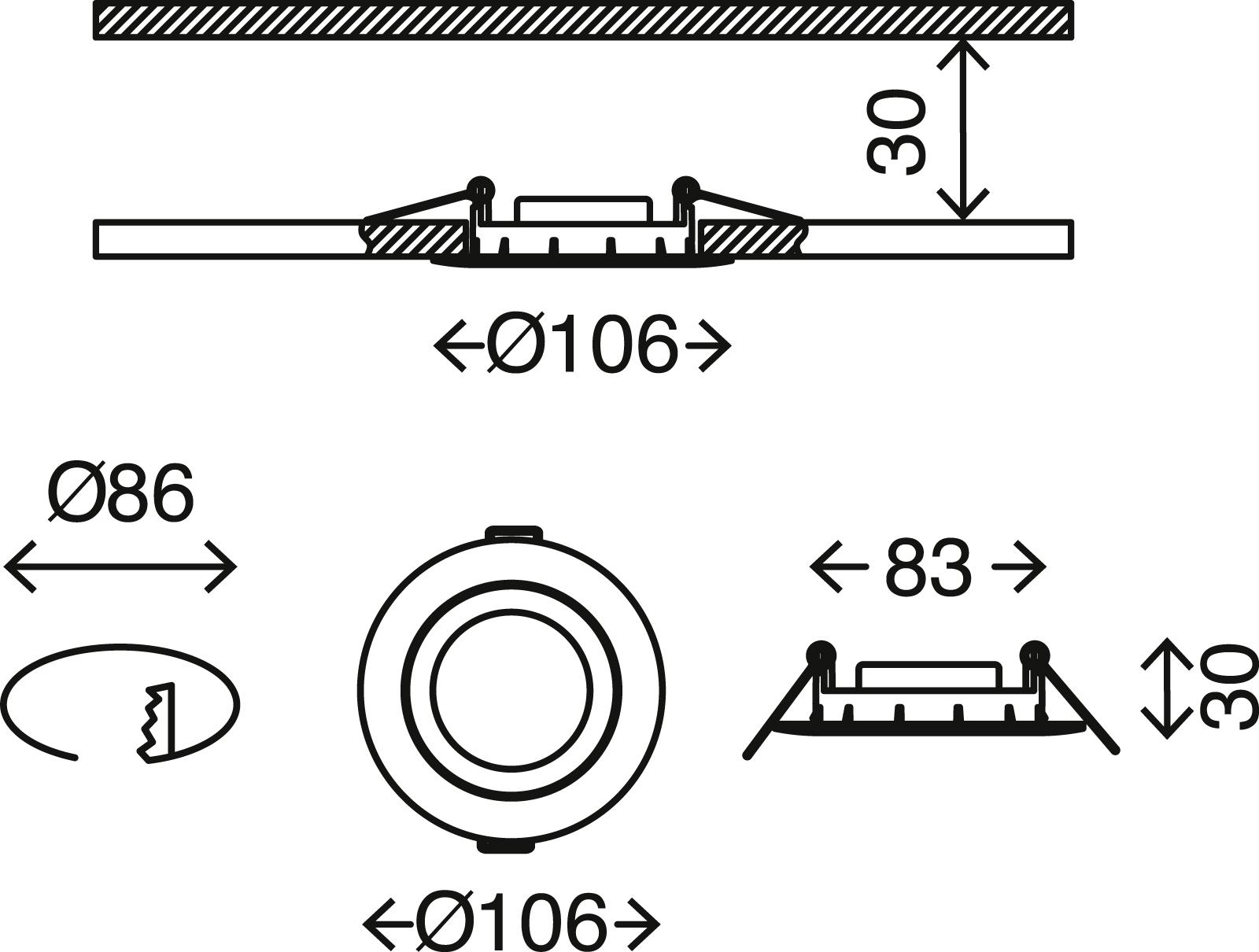 3er Set LED Einbauleuchte, Ø 10,6 cm, 7 W, Matt-Nickel