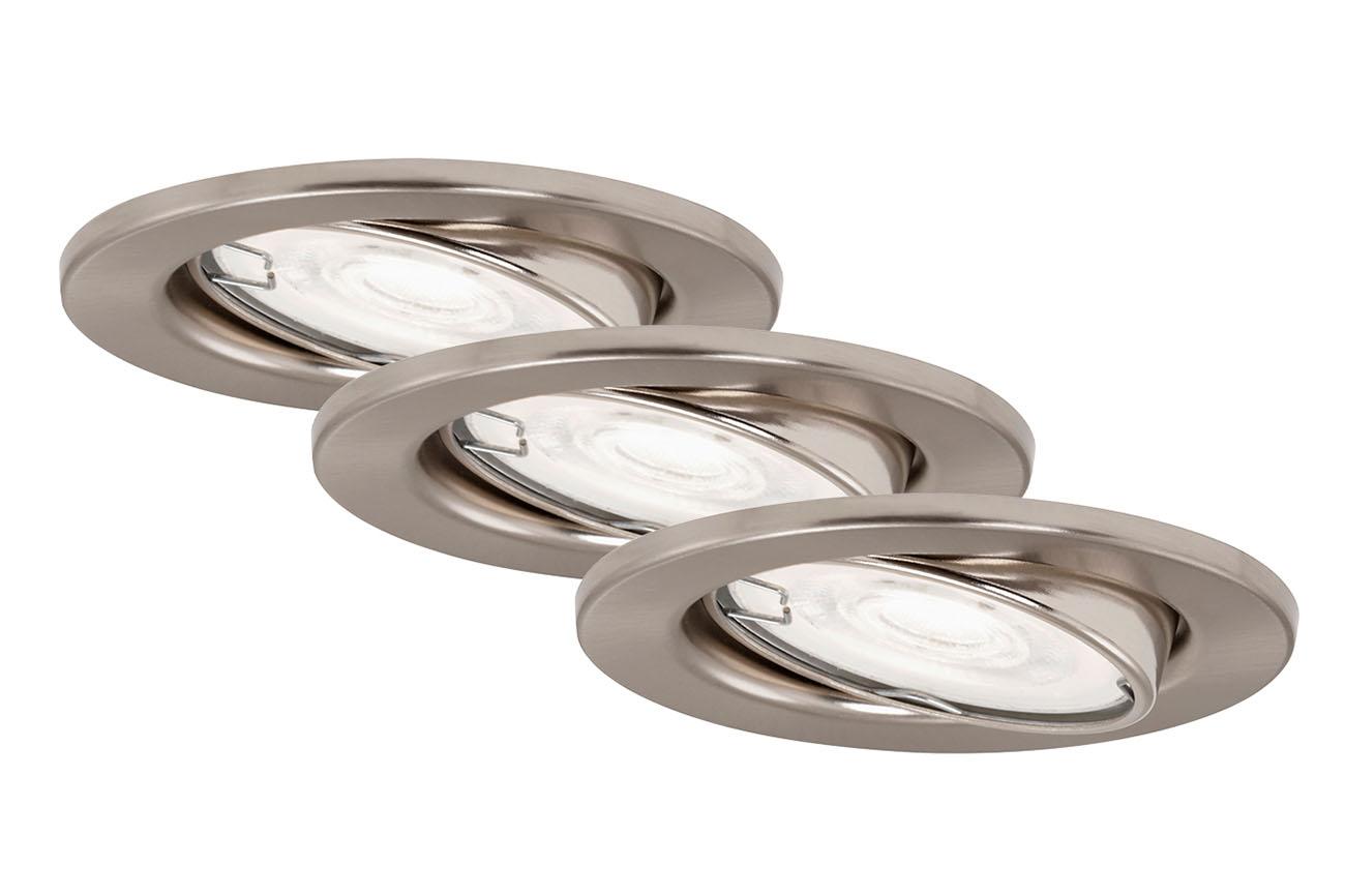 3er Set LED Einbauleuchte, Ø 8,6 cm, 5 W, Matt-Nickel
