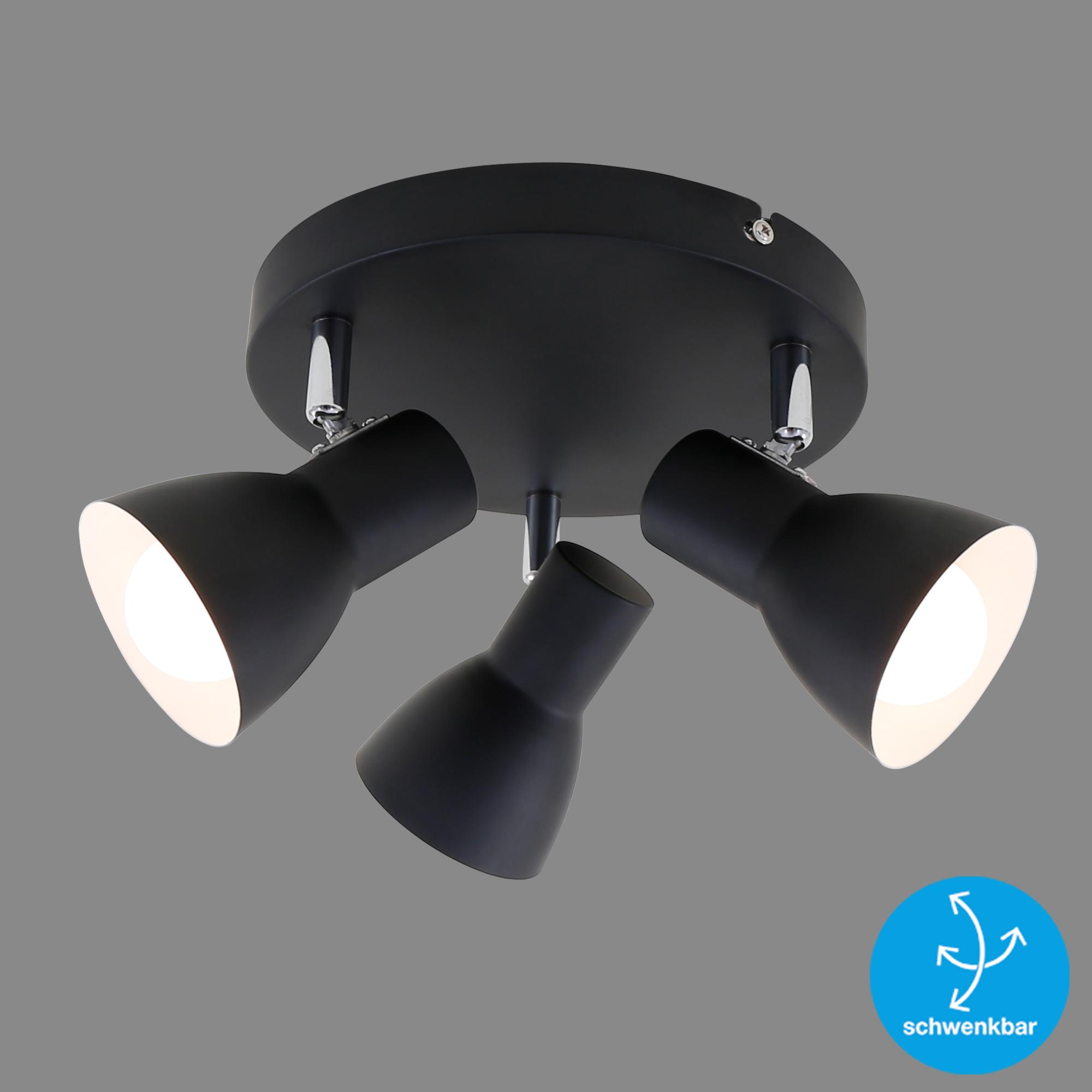 LED Spot Deckenleuchte, Ø 21 cm, max. 25 W, Schwarz