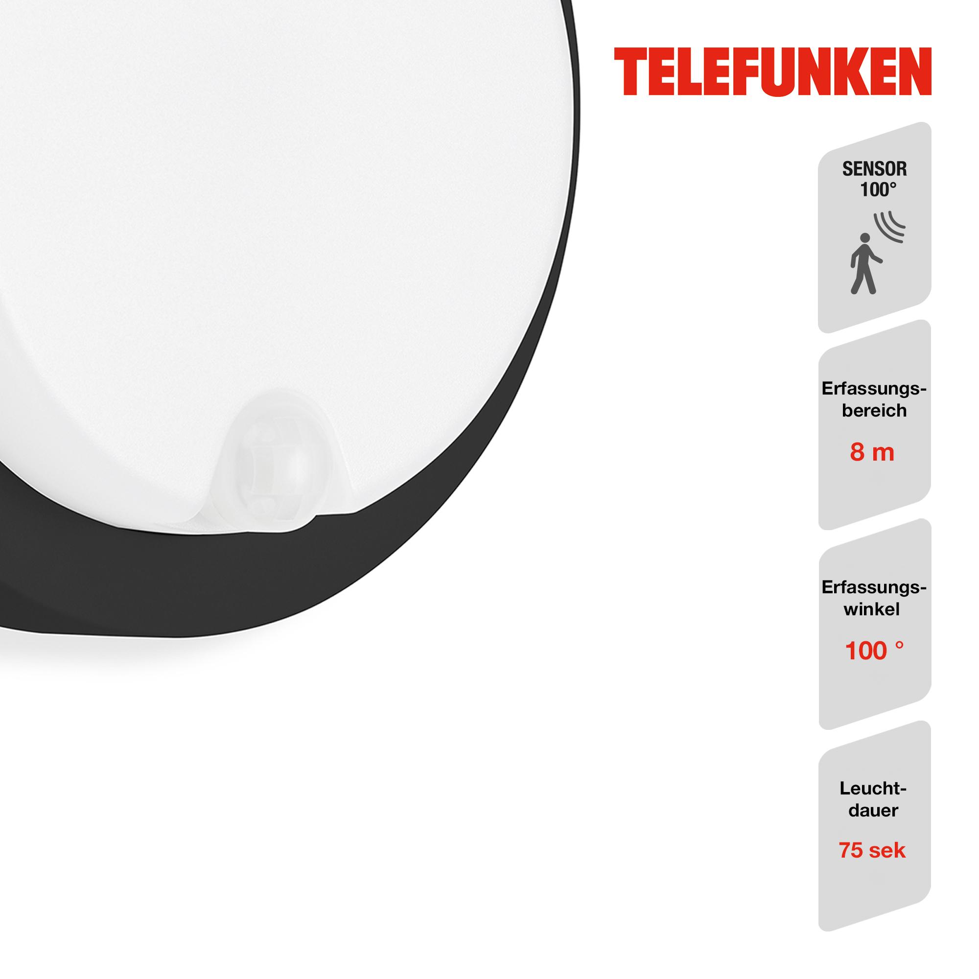 TELEFUNKEN LED Sensor Außenwandleuchte Schwarz