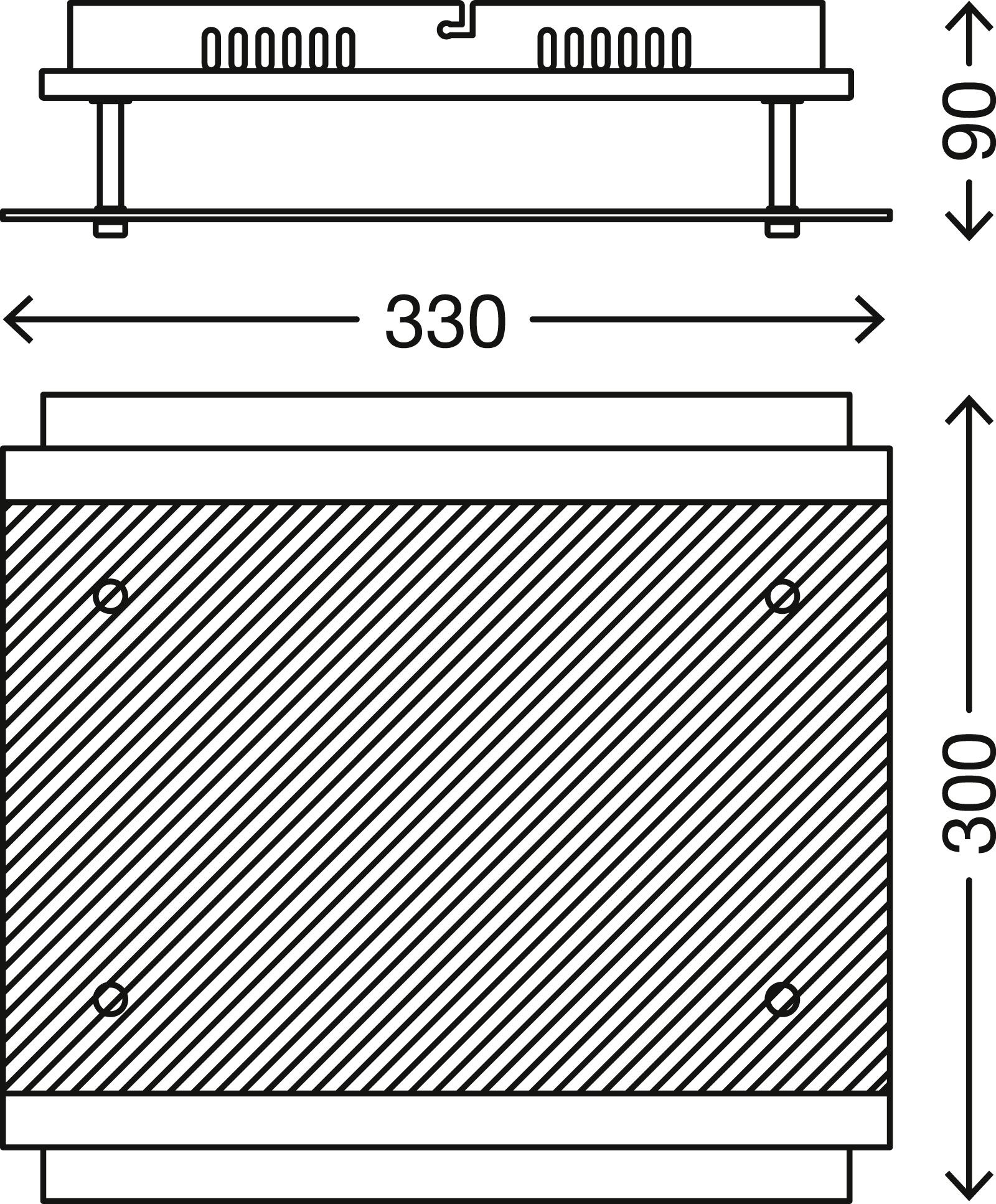 LED Deckenleuchte, 33 cm, 12 W, Matt-Nickel