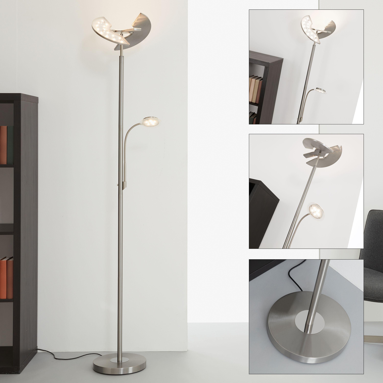 LED Fluter mit Lesearm Matt-Nickel