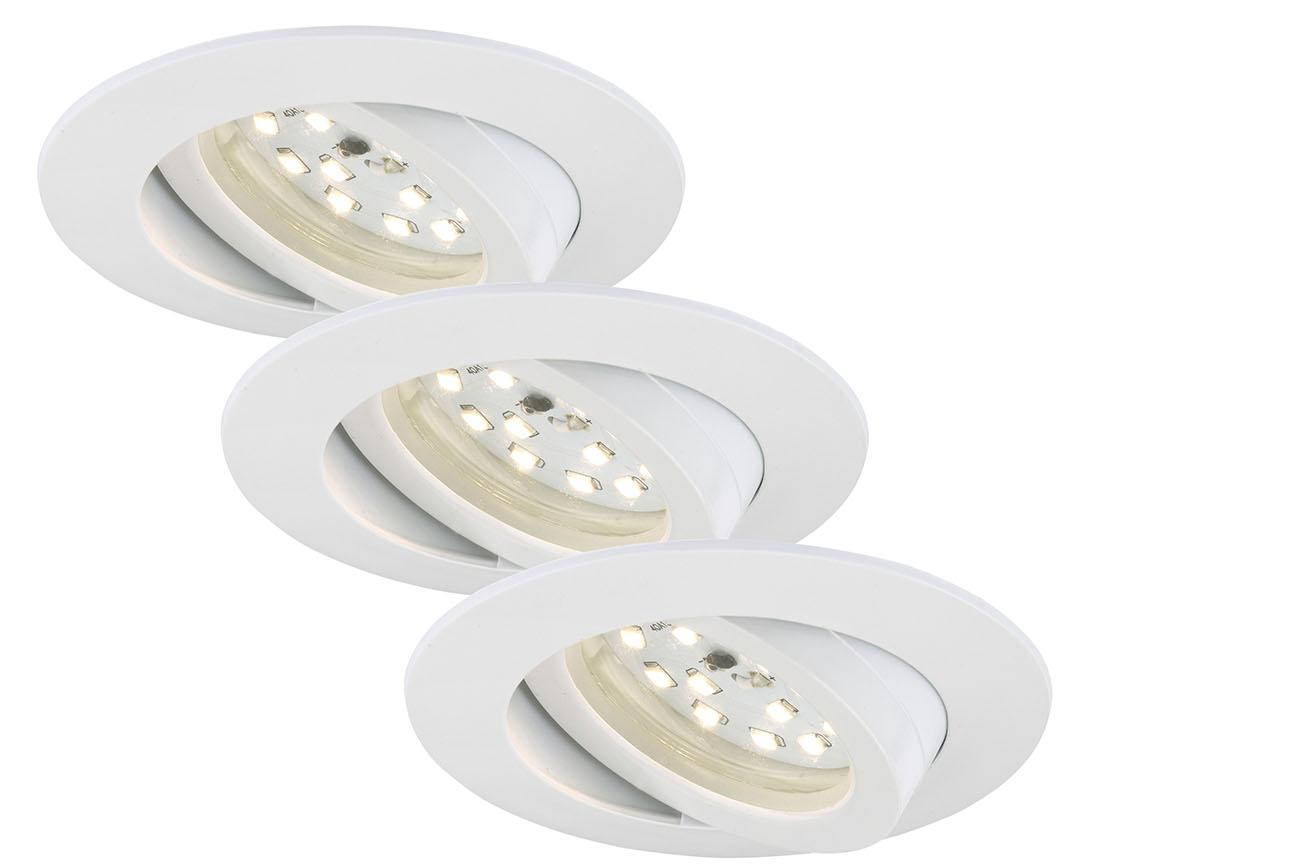 3er Set LED Einbauleuchte, Ø 8,2 cm, 5 W, Weiss
