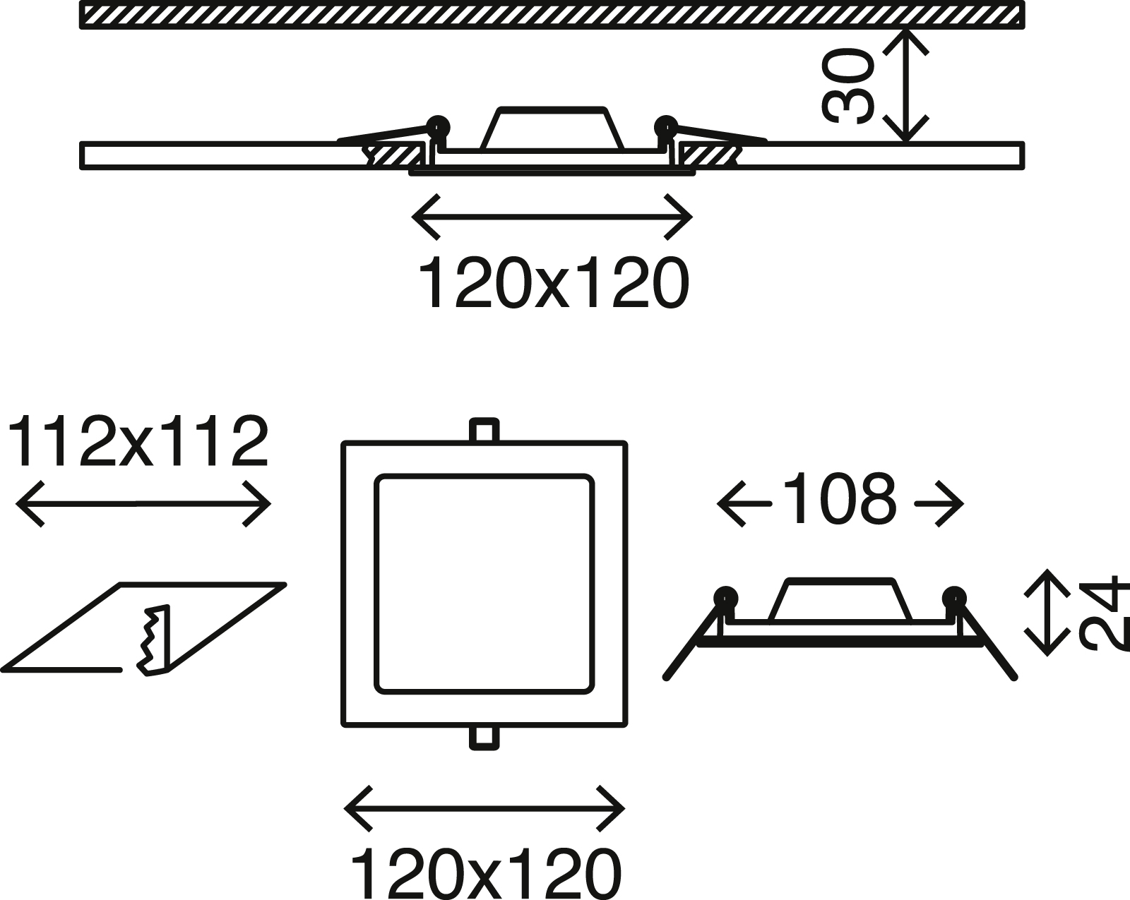 LED Einbauleuchte, 12 cm, 7 W, Matt-Nickel