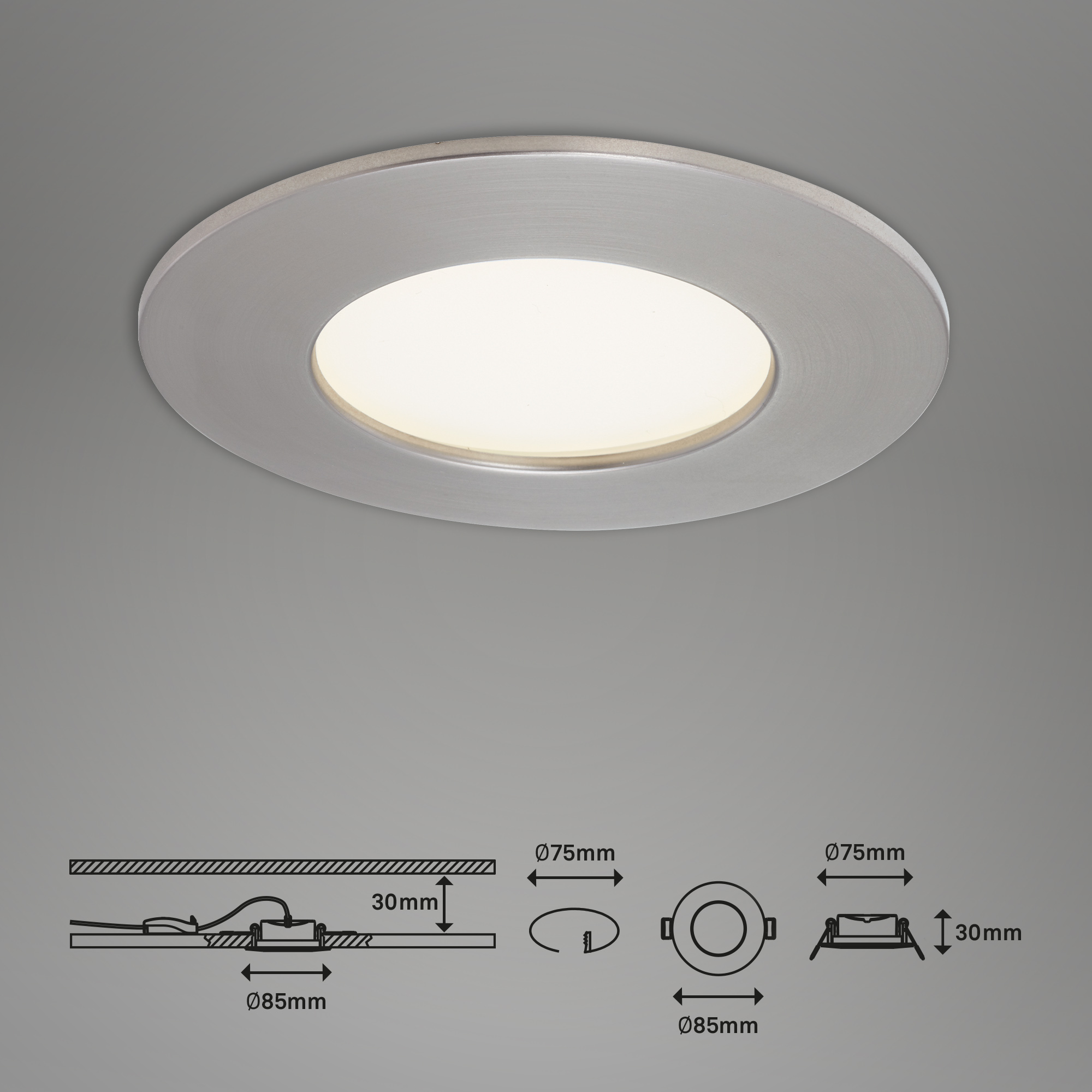 LED Einbauleuchte, Ø 8,5 cm, 4,8 W, Matt-Nickel