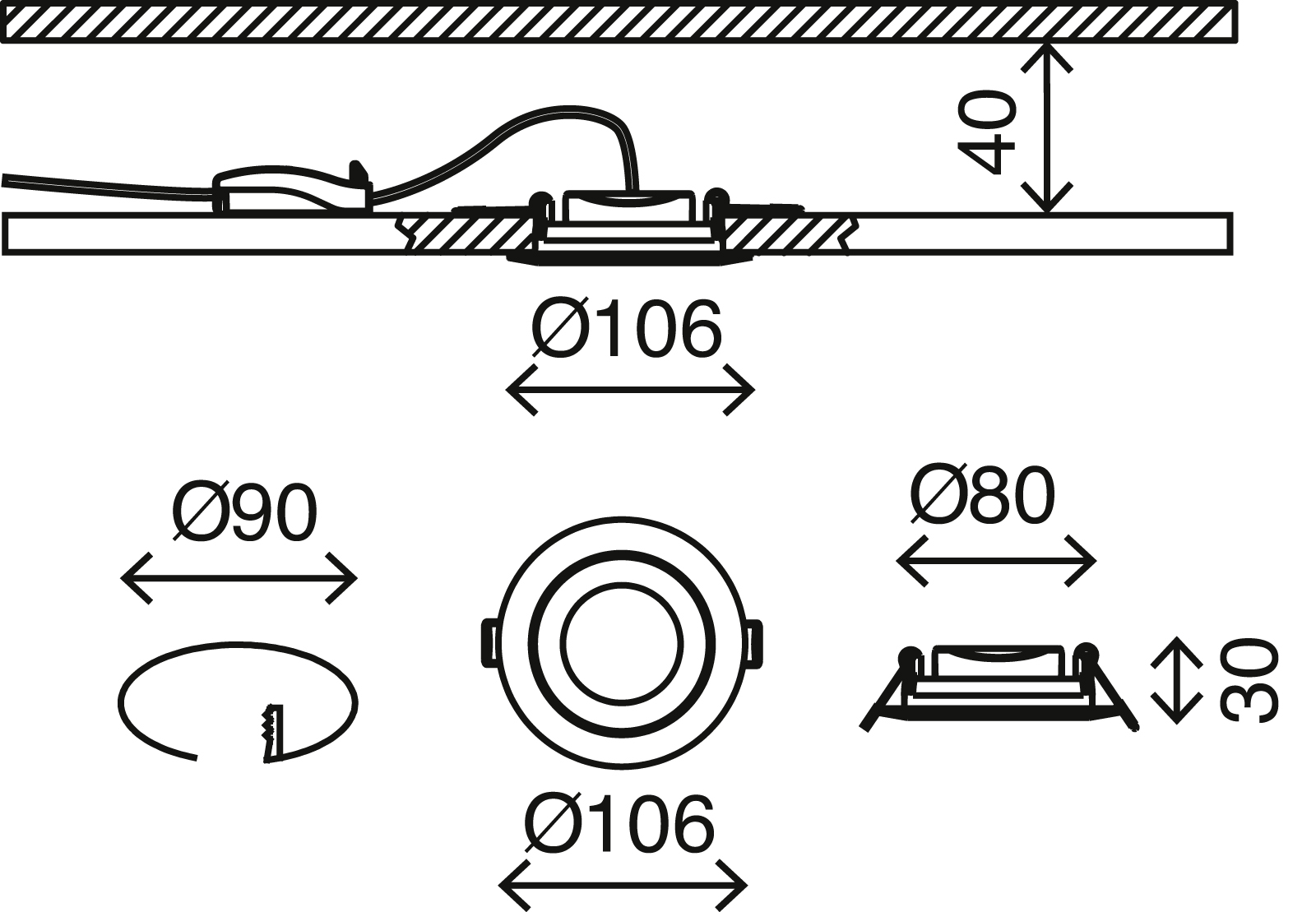 3er Set LED Einbauleuchte, Ø 10,6 cm, 4,8 W, Matt-Nickel