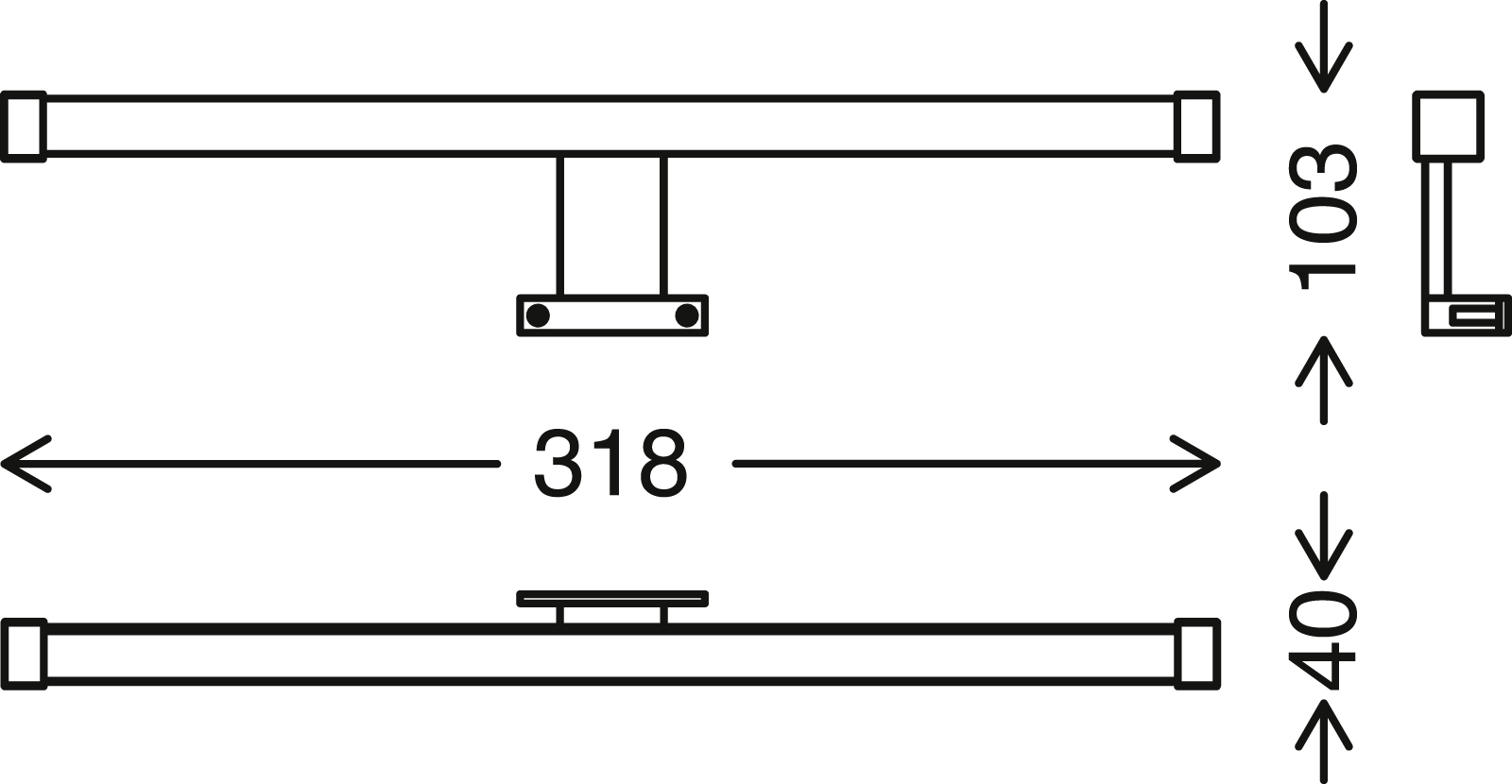 LED Spiegelleuchte, 31,8 cm, 8 W, Chrom