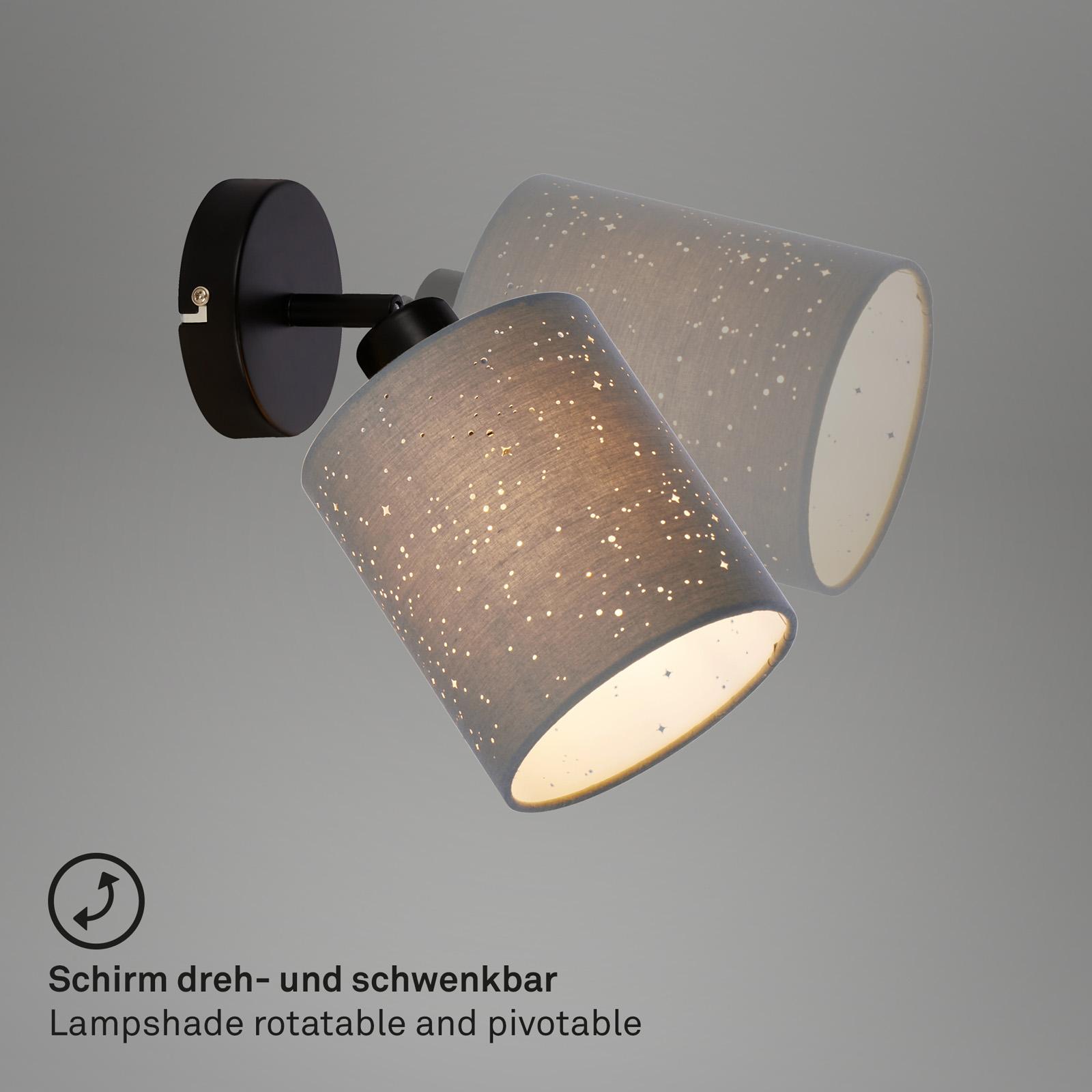 Spotleuchte einflammig Sternendekor Stoffschirm grau Baldachin Metall schwarz Verstellbarkeit