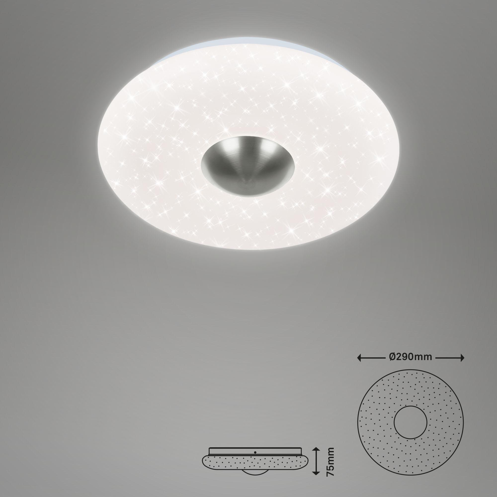 LED Deckenleuchte, Ø 29 cm, 12 W, Matt-Nickel-Weiß