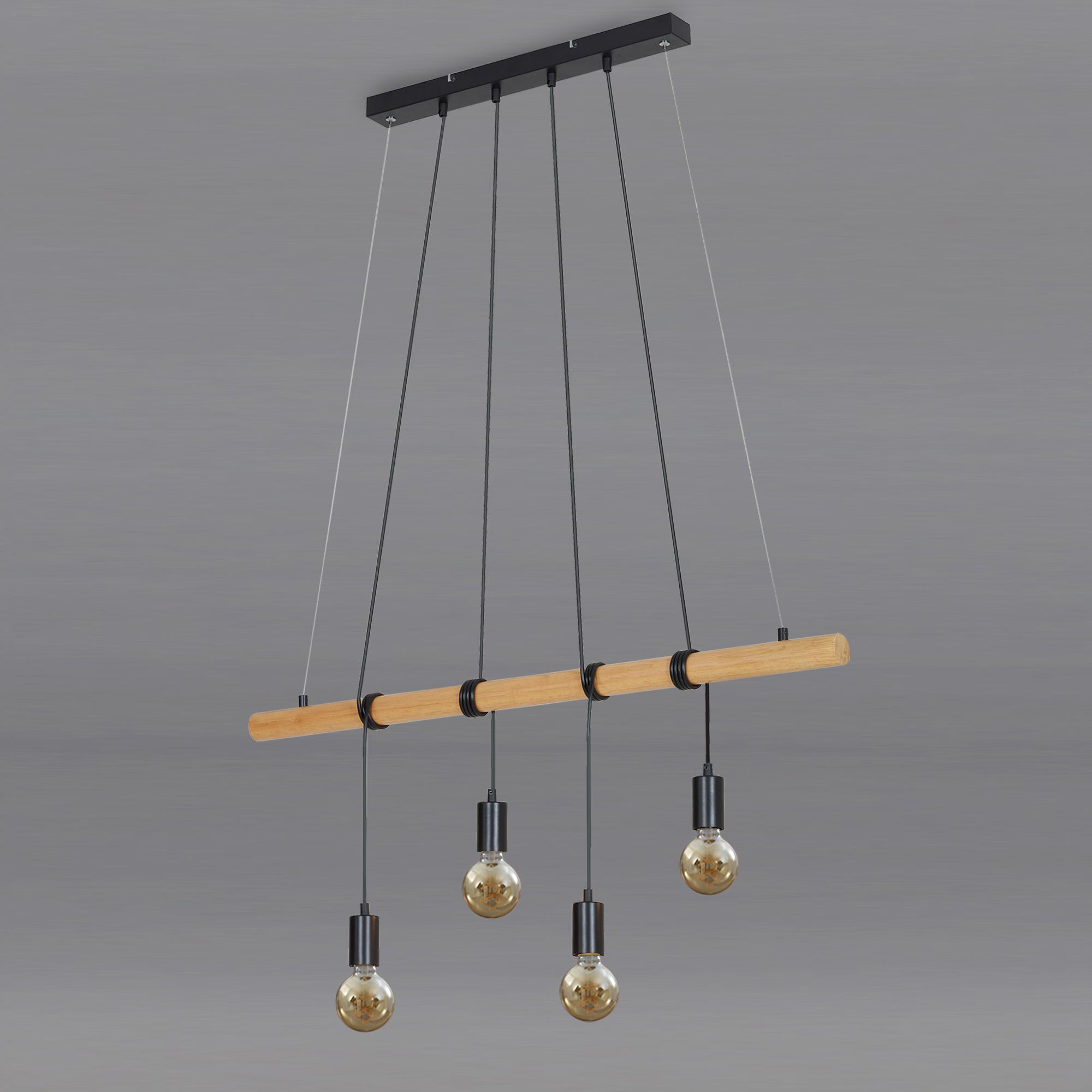 Pendelleuchte, 90 cm, max. 25 W, Holz-Grau