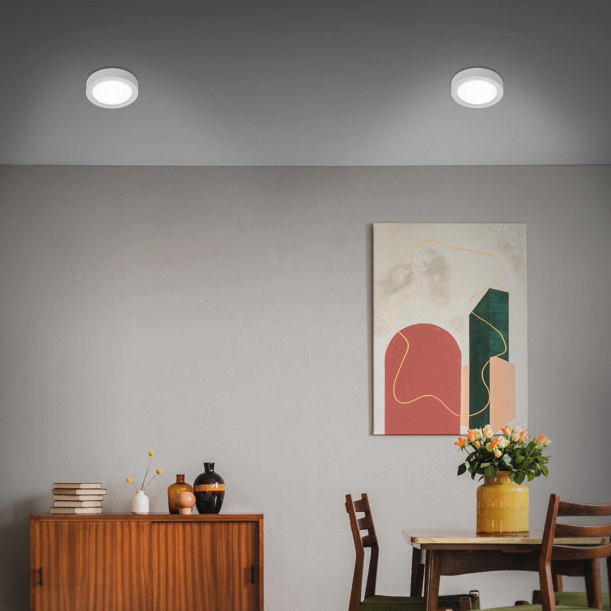 LED Deckenleuchte, Ø 17 cm, 12 W, Chrom-Matt