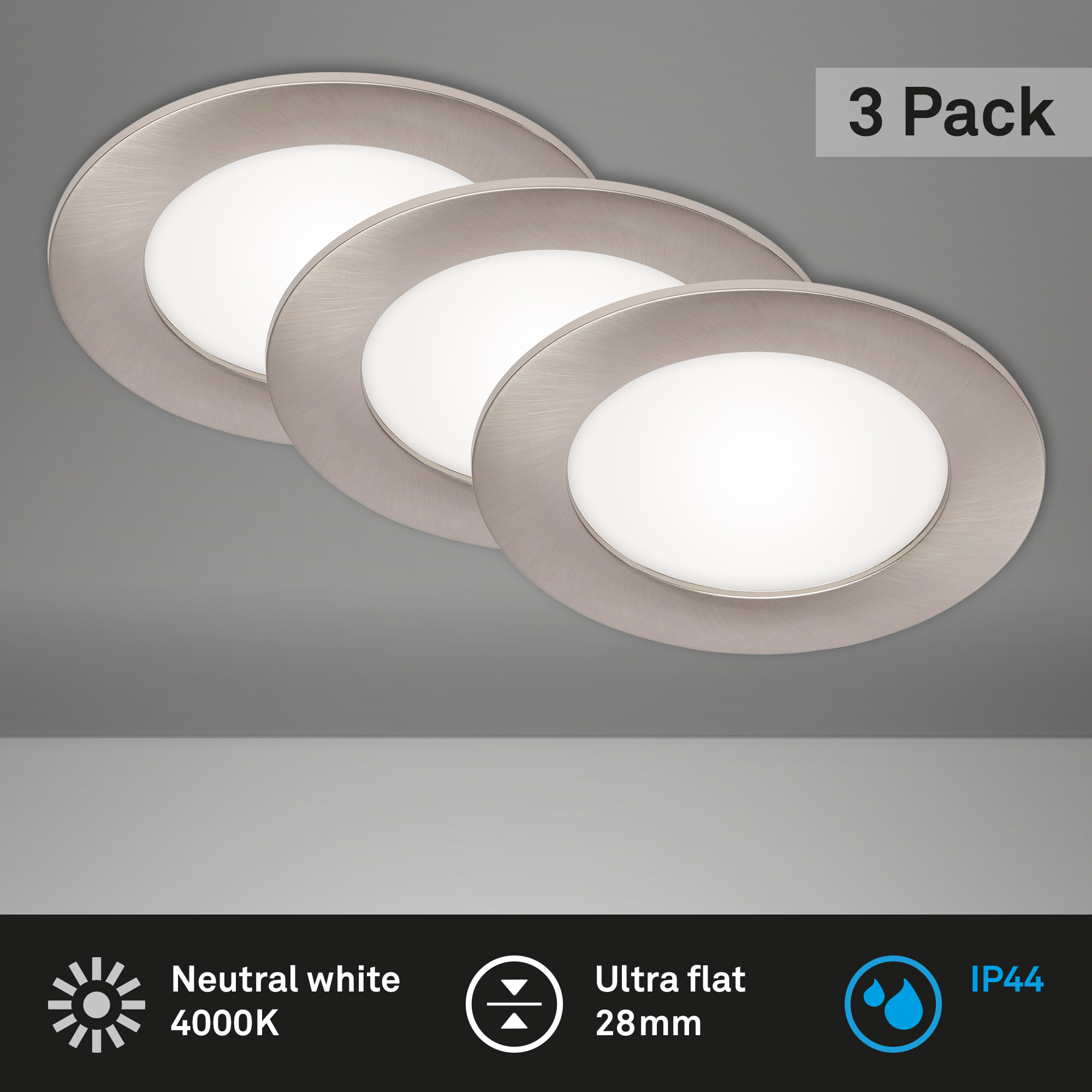 3er Set LED Einbauleuchte, Ø 12 cm, 7 W, Matt-Nickel