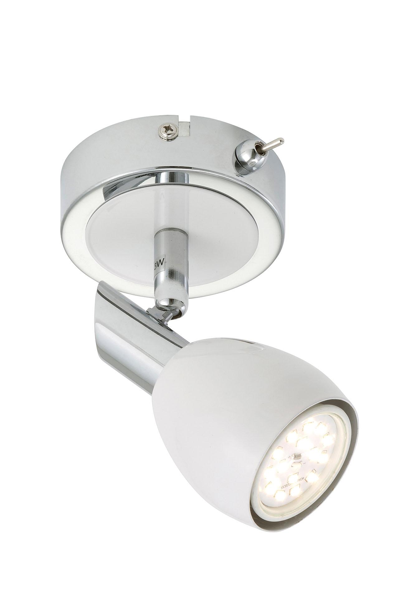 LED Spot Wandleuchte, Ø 8,5 cm, 5 W, Chrom-Weiß