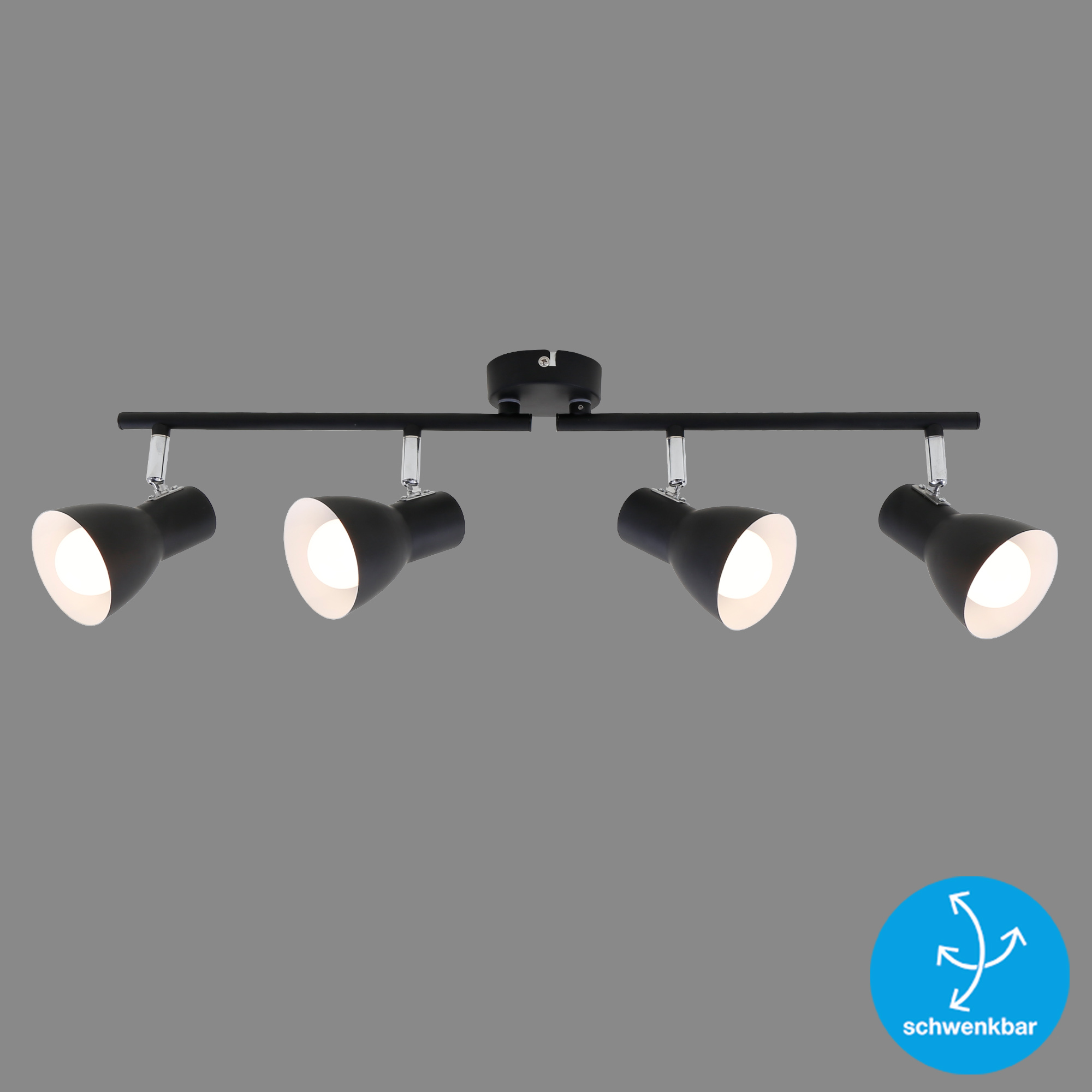 LED Spot Deckenleuchte, 60,5 cm, max. 25 W, Schwarz