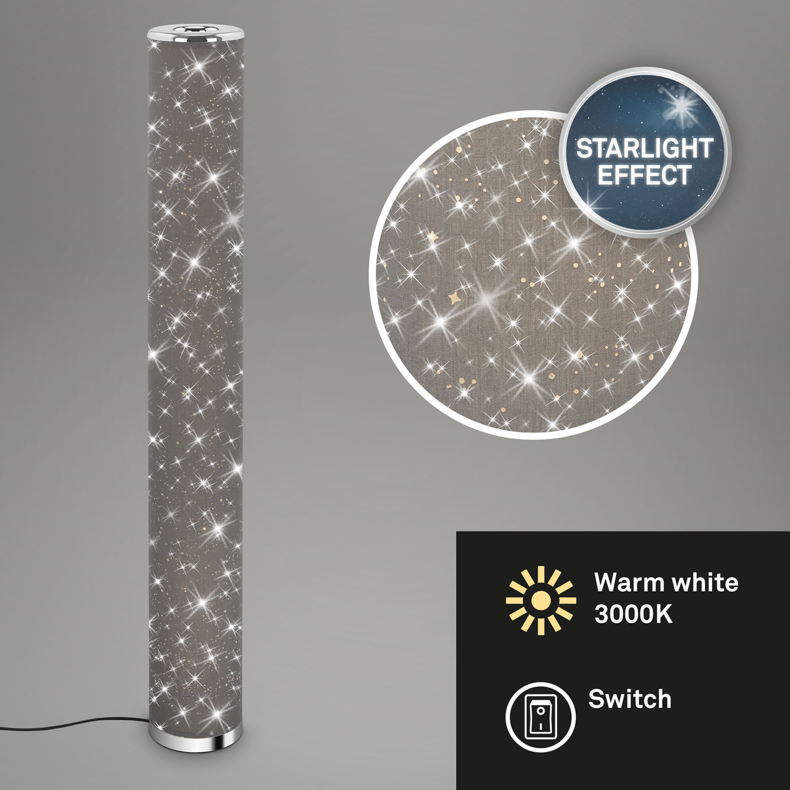Sternenhimmel LED-Stehleuchte Grau-Chrom