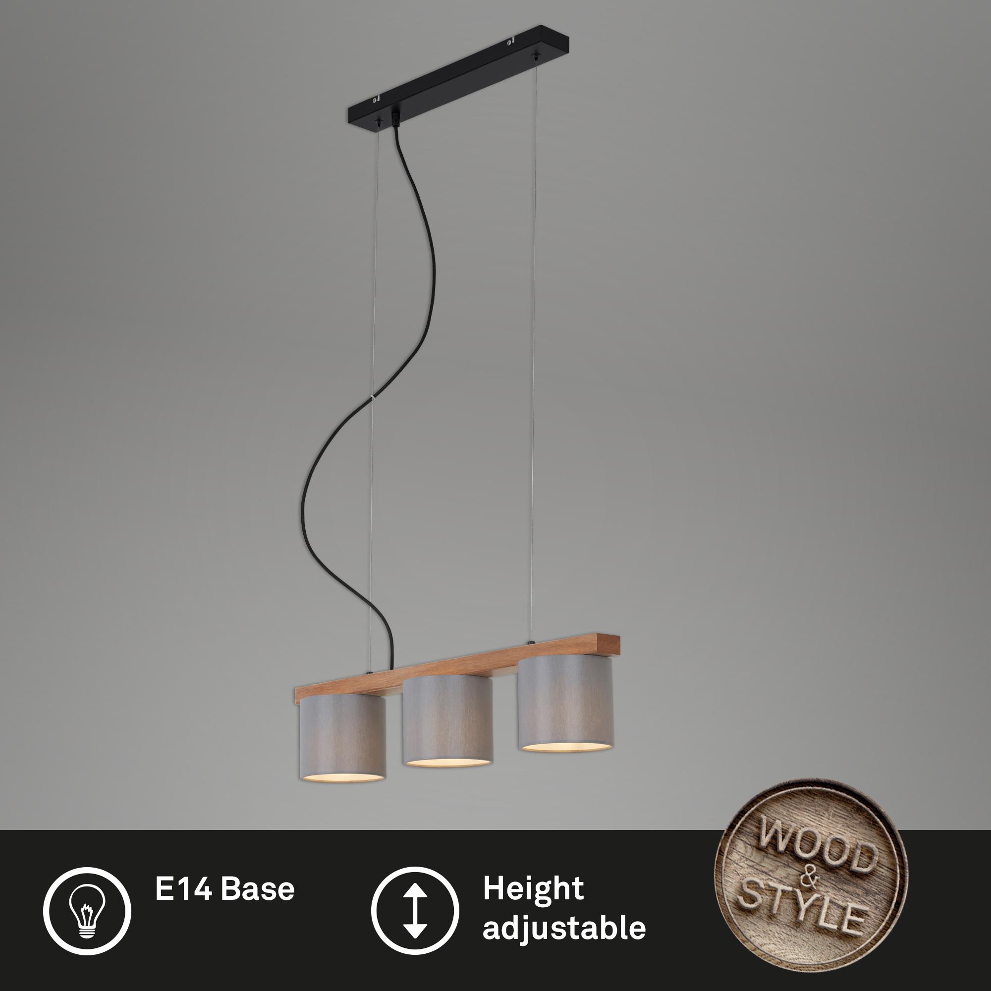 LED Pendelleuchte, 65 cm, max. 25 W, Grau